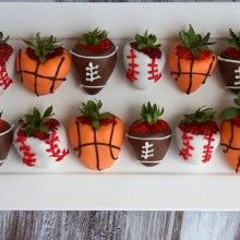 Sports dipped strawberries (imagine what else we could come up with!)