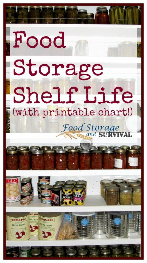 Food Storage Shelf Life (plus printable chart!) Survival