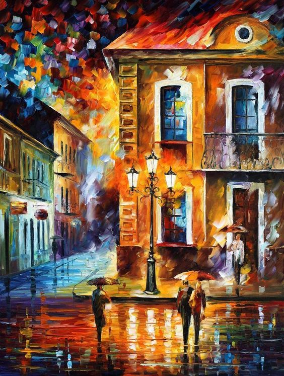 CHARMING NIGHT - PALETTE KNIFE Oil Painting On Canvas By Leonid Afremov…: