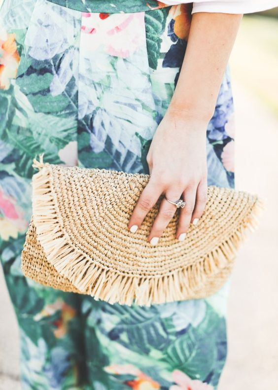 straw clutch + Hawaiian print pants