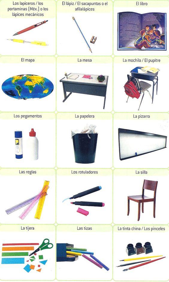 Objetos que usamos en clase spanish spanisch a1 1 for 10 objetos del salon de clases en ingles