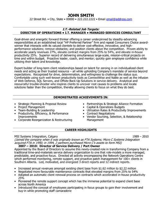Resume Delivery Manager Click Here to Download this Director of Service Delivery Resume Template! http://