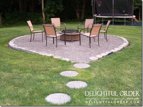 Fire pit area complete with paver stones leading the way for Gravel around fire pit