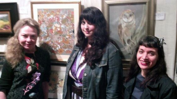 Three Artists L-R: Melanie Fisher (in front of her artwork), Lynnette Shelley and Monique Kendikian-Sarkessian