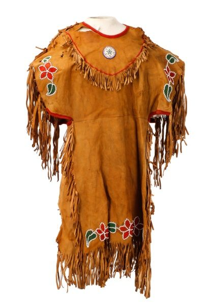 Native American Beaded And Fringed Hide Dress