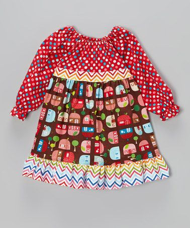 Take a look at this Red Appleville Empire-Waist Dress - Toddler & Girls by Beary Basics on #zulily today!