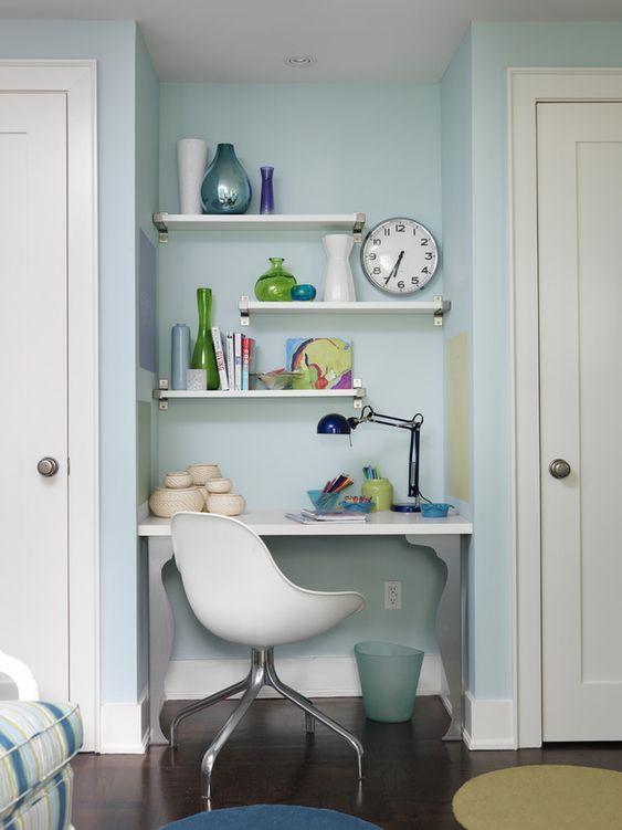 Designer Sarah Richardson turned this awkward space between doors into a chic homework nook