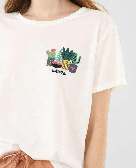 T-shirt broderie cactus blanc cassé
