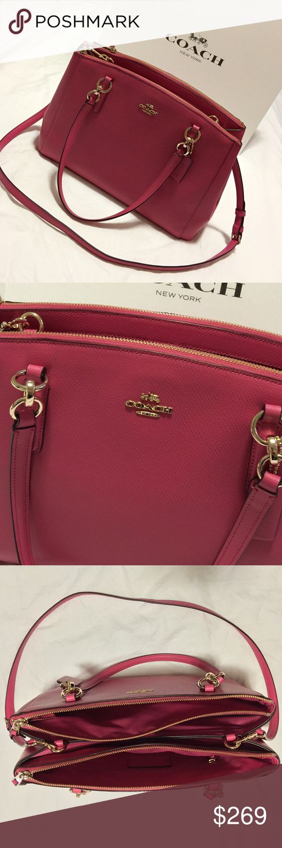 NWT Coach Christie Caryall Bag In Dahlia Pink NWT Coach Caryall bag with removable strap . This Beautiful Leather features 2 lg Zippered Compartments and 2 large open compartments with magnetic closure . Plenty of space for all of your items, can be worn on your arm or across your body. This gorgeous bag comes in Pink leather accented with Gold tone hardware✨ Please use Poshmark Etiquette when making comments or offers  Ty Coach Bags Satchels