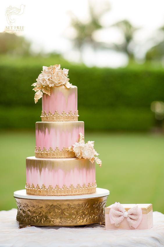 pink and gold wedding cake pink gold cake gold cake and wedding cake pink on 18539