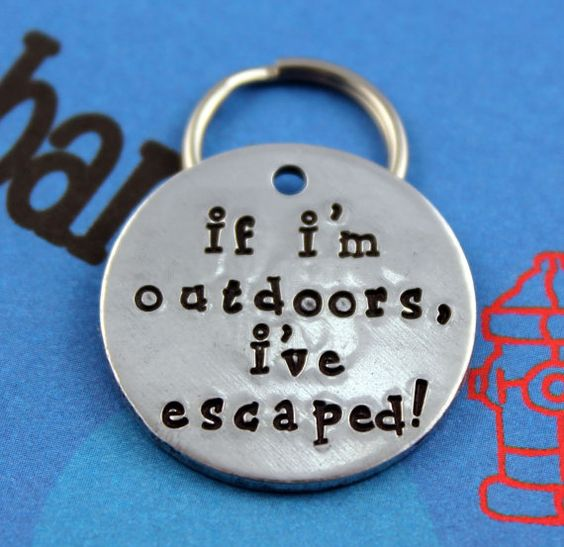 Handstamped Aluminum Pet ID Tag - Personalized Unique Dog Name Tag - Customized - If I'm Outdoors I've Escaped on Etsy, $13.00