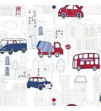 Papel pintado para niños - infantil ciudad con coches rojos y azul - 40792
