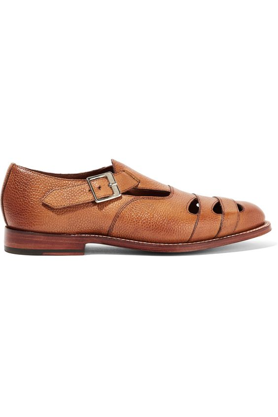Shop on-sale Grenson Briony cutout textured-leather brogues. Browse other discount designer Flat Shoes & more on The Most Fashionable Fashion Outlet, THE OUTNET.COM