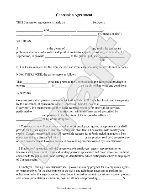 Sample Concession Agreement Form Template Miscellaneous Pinterest - employee reference form template