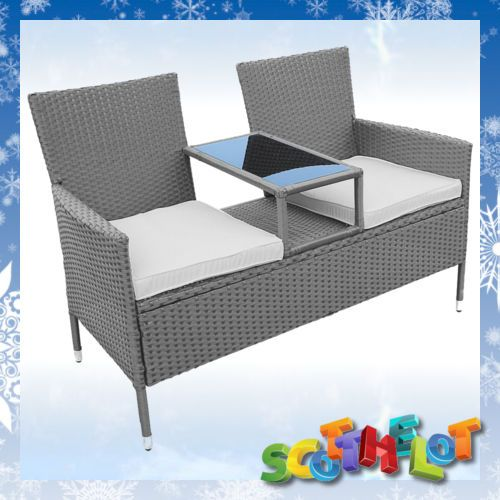 2 seater garden rattan bench sofa table wicker seat patio outdoor furniture grey rattan sofa tables and bench