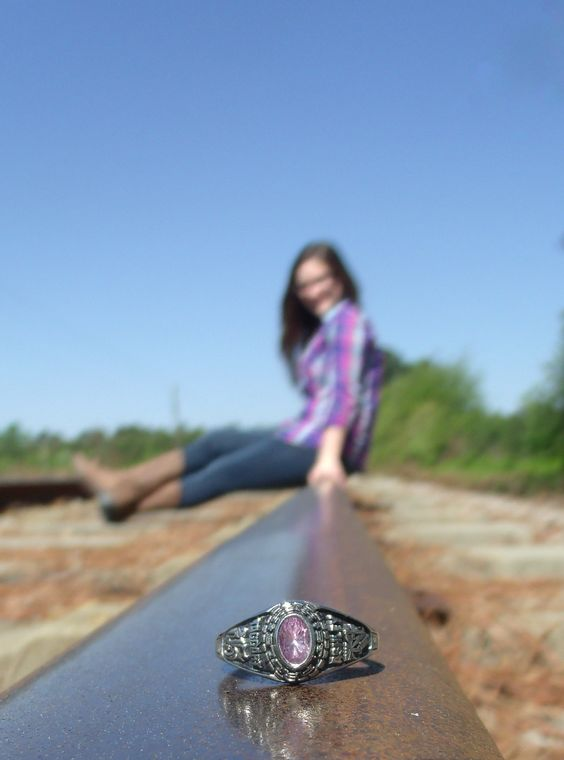 Senior picture, class ring shot, photography, senior girl, railroad tracks
