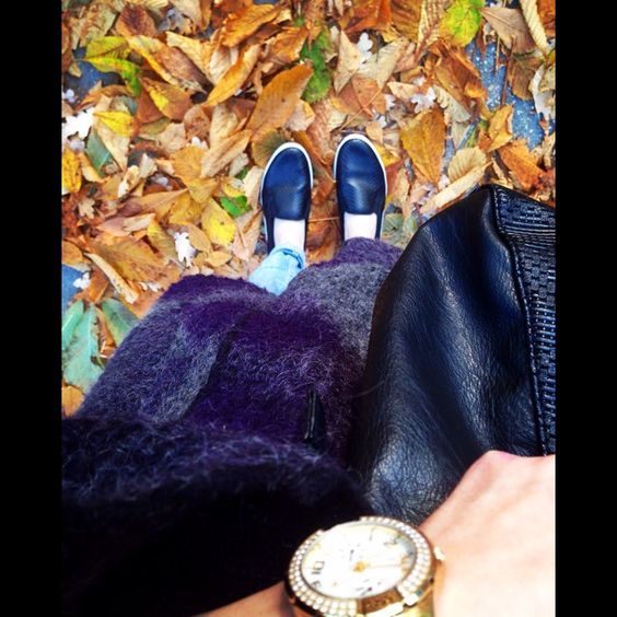 Wool Coat, slip-ons, baby blue jeans, guess watch   Chic Cocktail blog