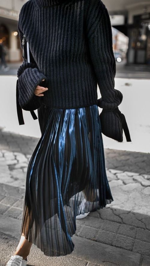Metallic pleated skirt Black sweater with tie detailing love this fall look