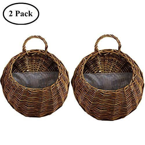 Yunhigh Wicker Hanging Flower Basket Wall Mounted Rattan Https Www Amazon Com Dp B07cgjk6w5 Ref Cm Sw R Pi Baskets On Wall Hanging Flower Baskets Wicker