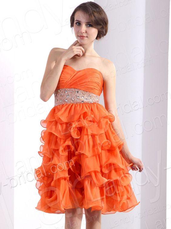 A Line Sweetheart Short Chiffon Orange Party Dress E22530 ...