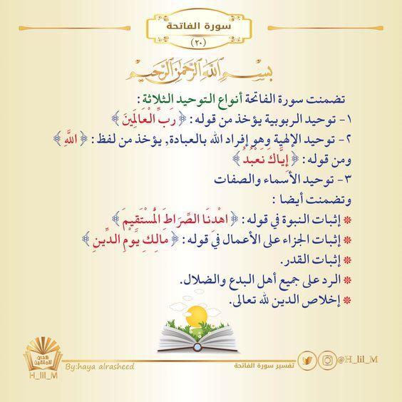 سورة الفاتحة تفسير سورة الفاتحة الاستعاذة البسملة الخرائط الذهنية لسور القرآن الكريم Islamic Quotes Quran Islamic Quotes Words