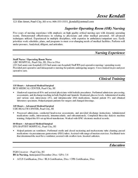nurse resume Nurse Resume Example Nursing Pinterest Resume - operating room nurse resume sample