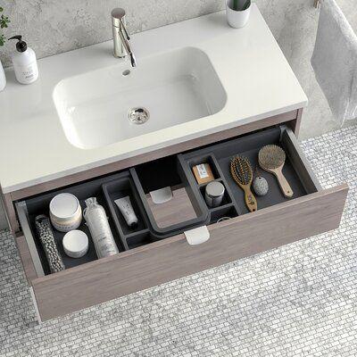 Mercer41 Esmont 40 Single Bathroom Vanity Set Base Finish White Wood Wood Top Size 35 H X 40 Single Bathroom Vanity Bathroom Vanity Cabinets Vanity Cabinet New top ceramic bathroom size