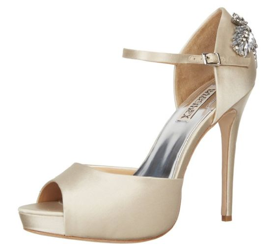 Ivory Satin Peep-tow Pumps w/Accent on back I Love Ivory Shoes