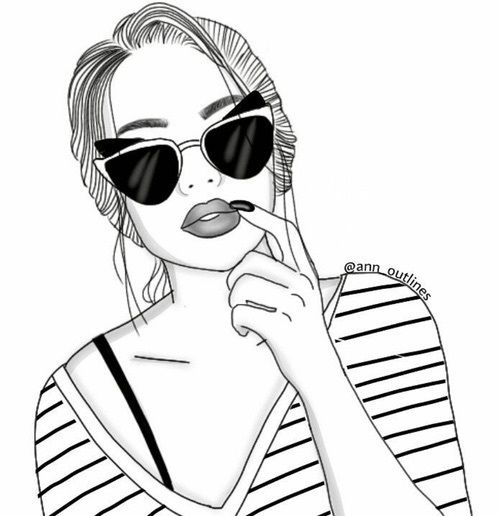 draw, girl, and outline image | Planner art | Pinterest | Outline ...