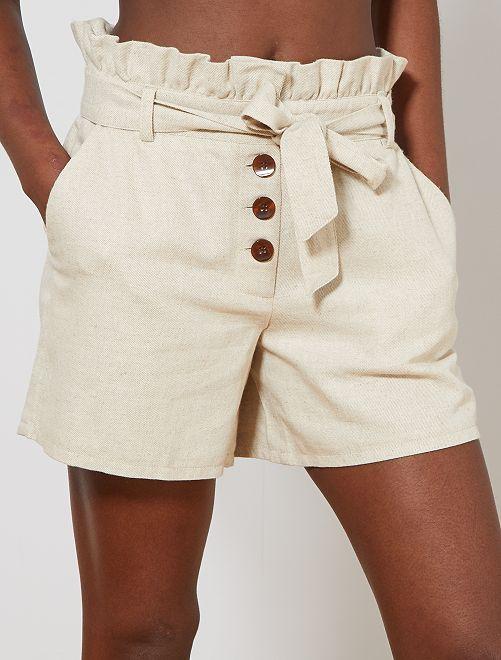Short en coton et lin | Short habillé, Short beige, Short en