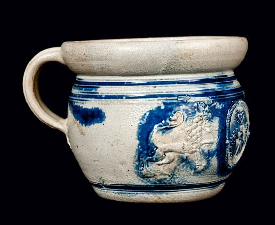 Westerwald Stoneware Chamber Pot with Applied Lions and Medallion, unknown date (Crokerfarm)