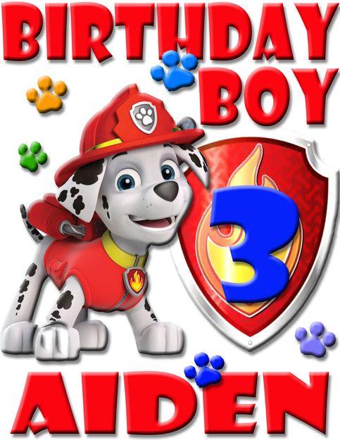 Personalized Birthday Appliqu\u00e9 Paw Patrol Marshall Shirt