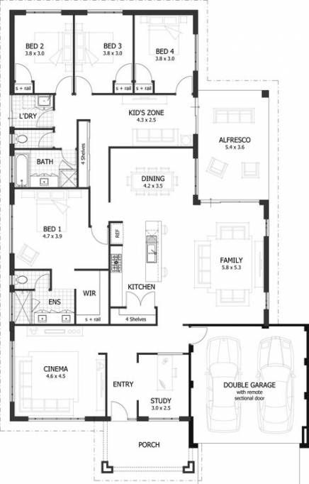 15 Ideas For House Plans One Story No Garage Bathroom 4 Bedroom House Plans Bedroom House Plans 5 Bedroom House Plans