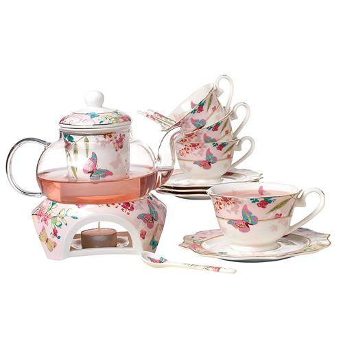 Jusalpha Glass Filtering Tea Maker Teapot with a Warmer and 6 Tea Cups Set Version 1, 27 OZ