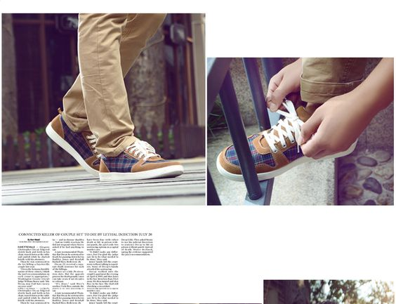 2013 mens fashion plaid casual shoes genuine leather lacing Sneakers on sale