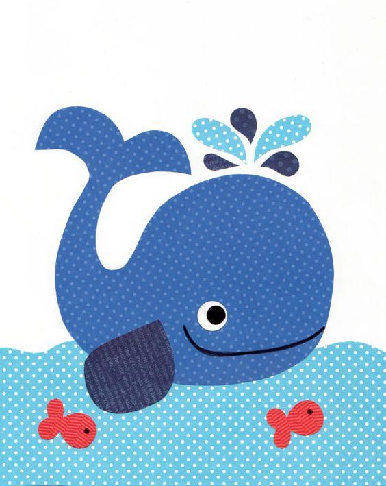 Sue o grande ballena guarder a n utica grabados beb for Decoracion nautica infantil