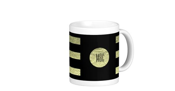 Your custom color with gold stripes and circle basic white mug