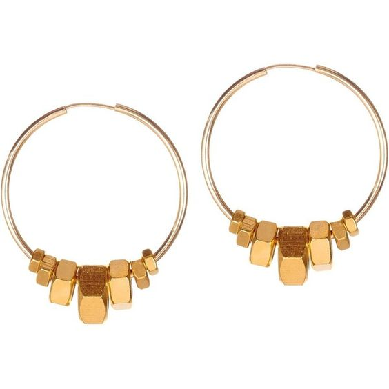 Alice Menter - Harper Gold Earrings (410 SAR) ❤ liked on Polyvore featuring jewelry, earrings, gold filled earrings, gold filled jewelry, gold filled jewellery, cream jewelry and hexagon hoop earrings