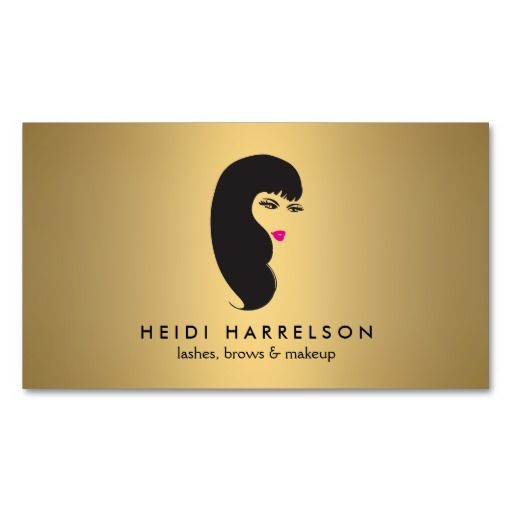 Girl with lashes on faux gold beauty business card for Eyelash extension gift certificate template