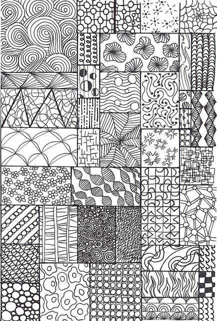 zentangle sampler by *carolion*, via Flickr - I made this one specifically for my junior students, grades 1-3. Sourced from all over and including some made up be me and my students.:
