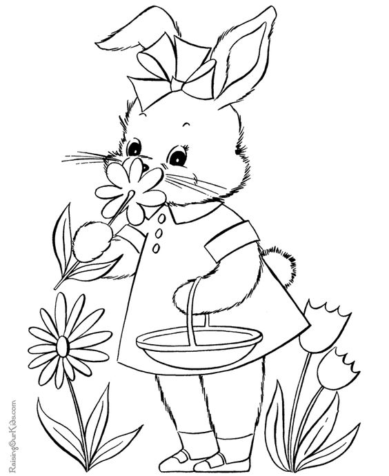Mrs Bunny With A Basket Of Easter Eggs Coloring Page: Easter Coloring Page Of Bunny - 003
