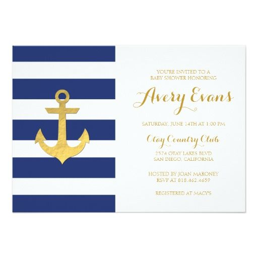 nautical navy stripe baby shower with gold anchor card   nautical, Baby shower invitations