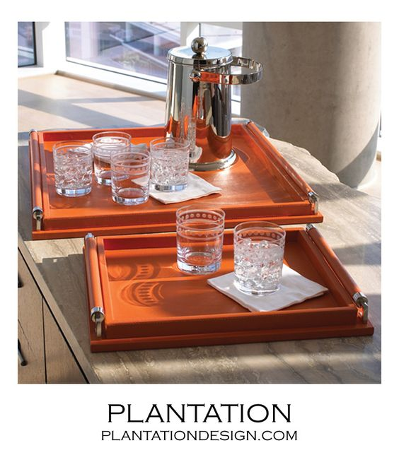 PLANTATION | Moorea Leather Trays | Orange