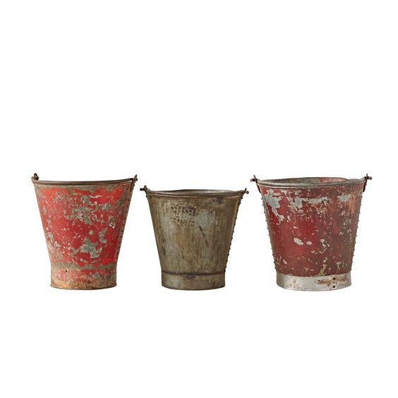 Found Metal Bucket - Set of 3 - 3R Studios,