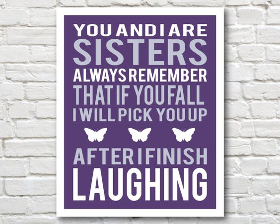 Wall Art Quotes For Sisters : Sisters art and gift for sister on