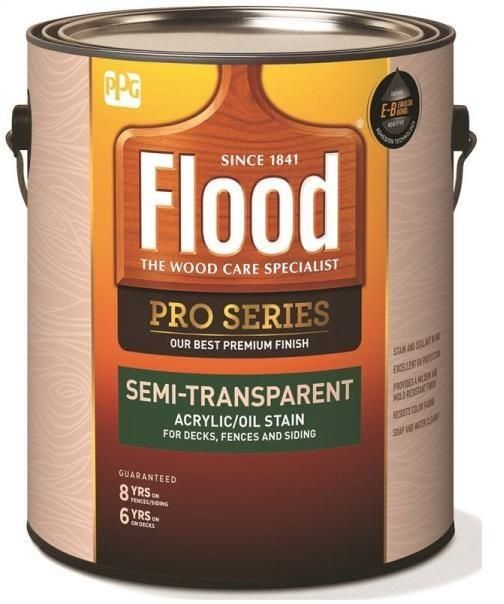 Flood Fld812 01 Pro Series Semi Transparent Acrylic Oil Stain Neutral Base 1 Gallon Exterior Stain Natural Wood Finish