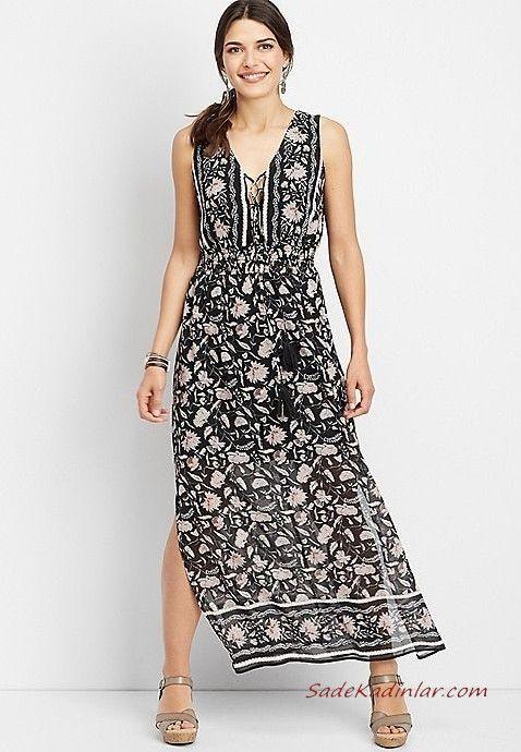 Yazlik Elbise Modelleri Siyah Uzun Kolsuz V Yakali Yirtmacli Cicek Desenli Gri Topuklu Ayakkabi Maksi Elbiseler The Dress Elbiseler