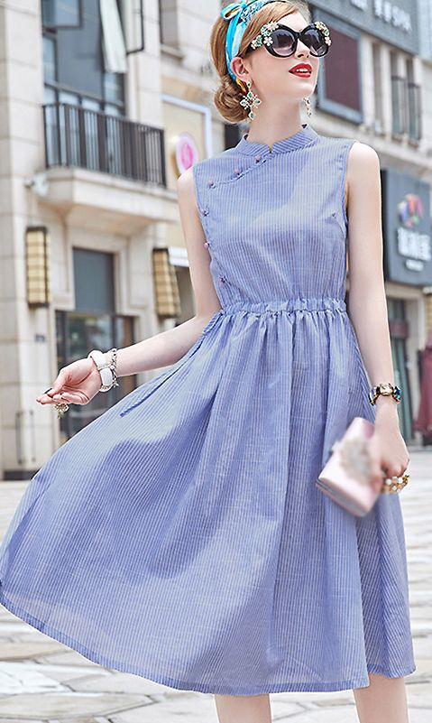 Vintage Stand Collar Striped Skater Dress