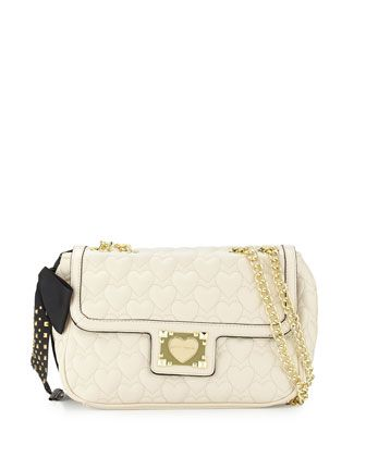 Heart-Quilted+Shoulder+Bag,+Cream+by+Betsey+Johnson+at+Neiman+Marcus+Last+Call.