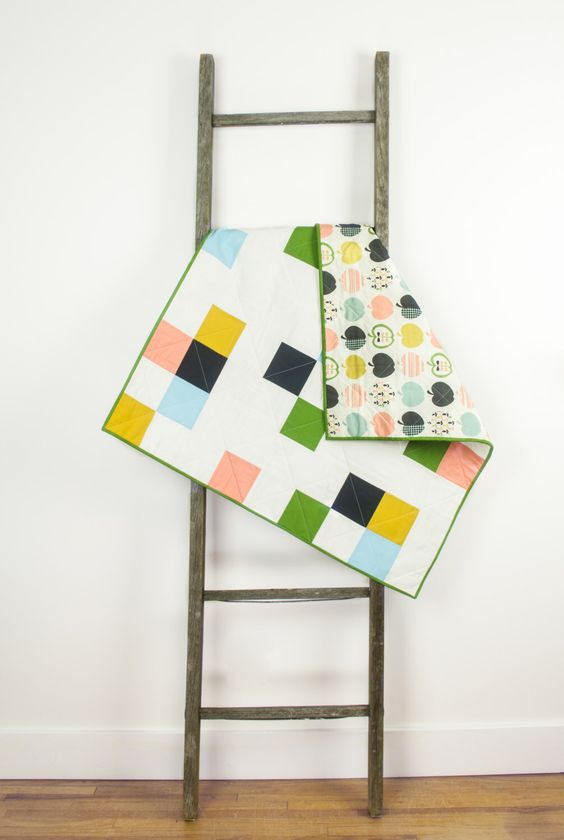 Baby quilt – Patchwork and Apples – green, pink, yellow, grey, blue, white, multi-colored, modern, geometric, handmade, unique, play mat by abbeyshousequilts on Etsy https://www.etsy.com/listing/206076897/baby-quilt-patchwork-and-apples-green